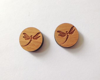 Dragonfly insect earrings plug F14