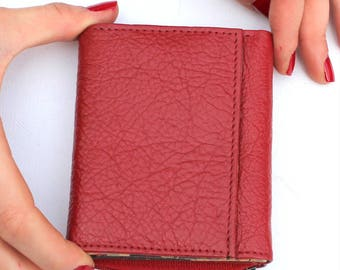 Small Grande Red And Spanish Floral Leather Trifold Wallet