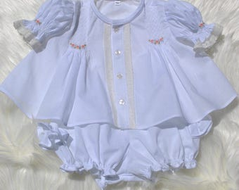 Smocked top and bloomers set