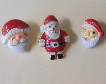 3 Christmas Santa Metal Buttons JHB Small Metal Buttons Seasonal Buttons