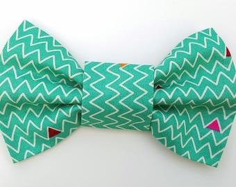 Dog Bow Tie - Teal zigzag