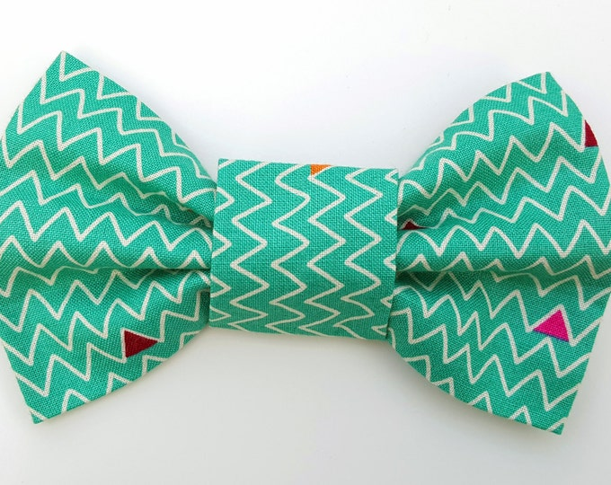 Dog Bow Tie - Teal zigzag