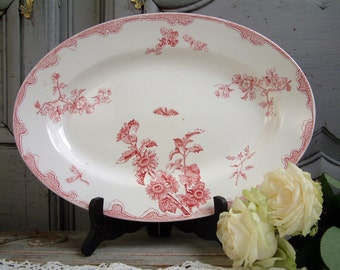 Antique french ironstone red transferware oval serving platter. Rose red transferware. French transferware. Jeanne d'Arc living. Gustavian.