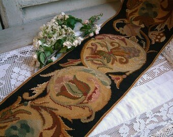 Antique french needlepoint tapestry runner. Napolean III needlepoint tapestry. 19th century. Black and gold. Antique needlepoint fragment