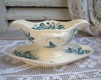 Antique french transferware sauce boat. Gravy boat. Teal transferware. Jasmine. Butterflies. Blue green transferware. Antique ironstone.
