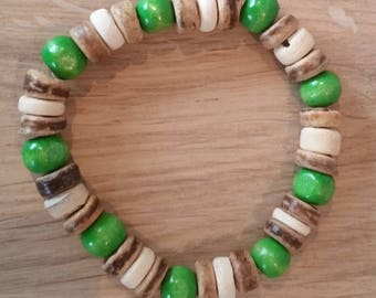 Wooden Bead Bracelet.Hand Made Wooden and Coconut Shell Bead Bracelet