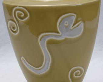 Vintage Portuguese Vase -  Large Hand Made Serpent Vessel - Fertility Renewal -  MCM Inspired Pottery