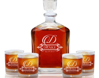 Housewarming Gift, Personalized Whiskey Decanter Set with 4 Whiskey Glasses, Groomsmen Gift, Engraved Decanter Set, Scotch Decanter