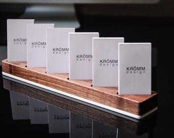 Multiple Vertical Business Card Display / Walnut and Acrylic Vertical Business Card Stand / Wood Vertical Card Holder