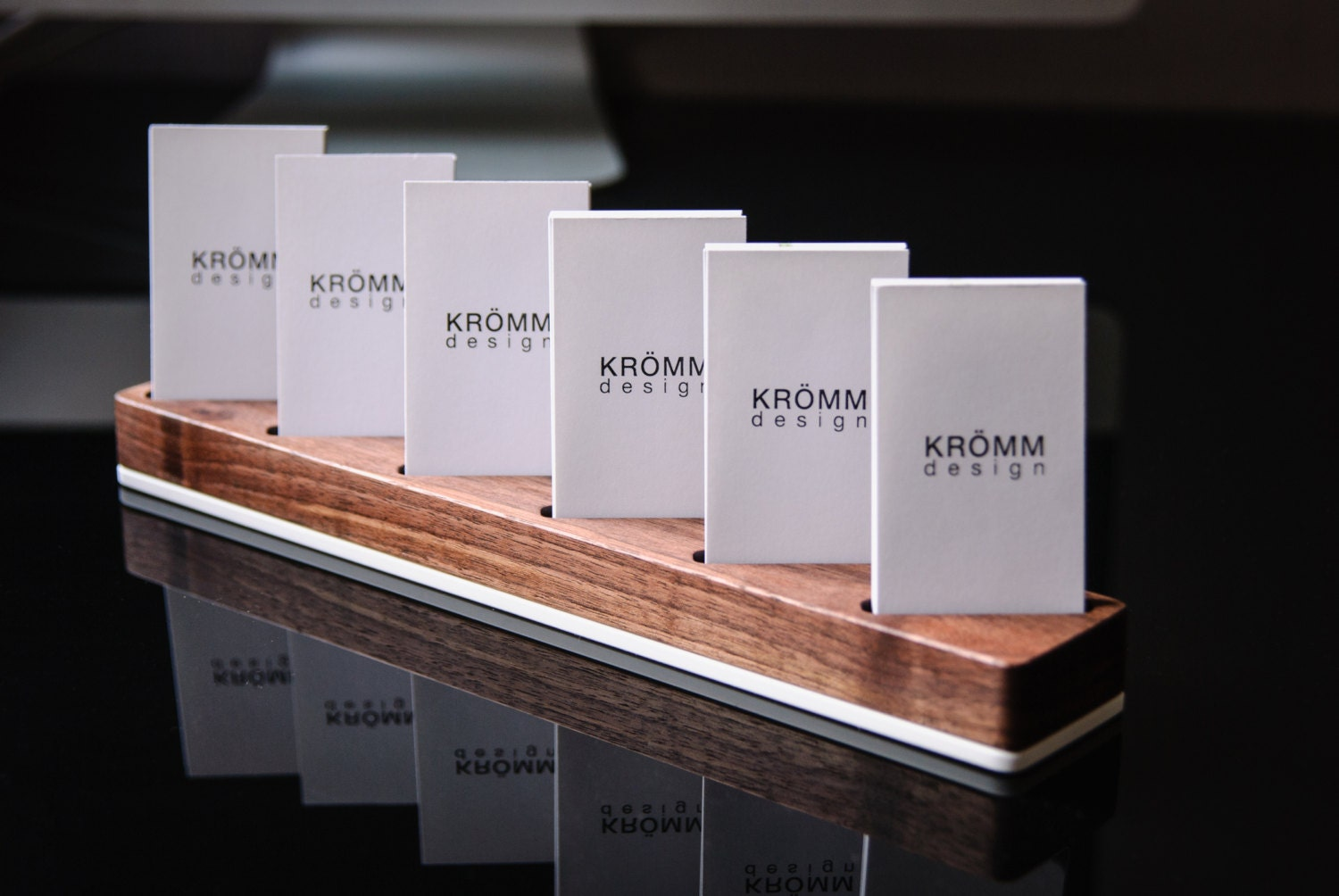 Multiple Vertical Business Card Display Walnut and Acrylic