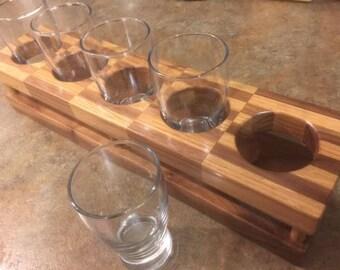 custom ,hand made beer flight rack oak and walnut, with glasses.
