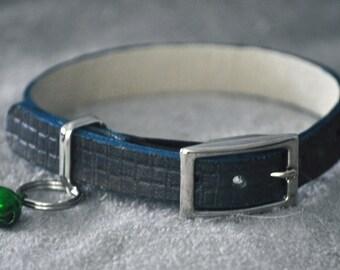 Ella Selection Blue Weave Leather Cat Collar
