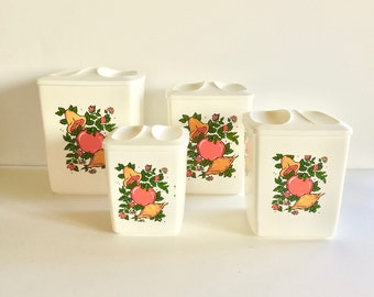 Vintage Canisters - Mod Plastic Kitchen Containers - Set of 4