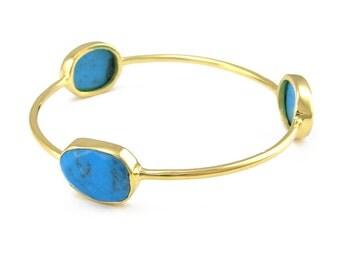 Turquoise Bangle - Gemstone Bangle Bracelet - Stacker Bangle - Multi Colored Bangles - Stacking Bangles - Gold Bangle