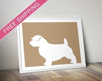 Norfolk Terrier Print (with Docked Tail) - Norfolk Terrier Silhouette, Dog portrait, modern dog home decor