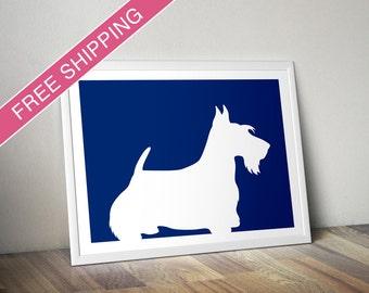 Scottish Terrier Print - Scottish Terrier Silhouette - Scottish Terrier art, dog wall art, dog gift