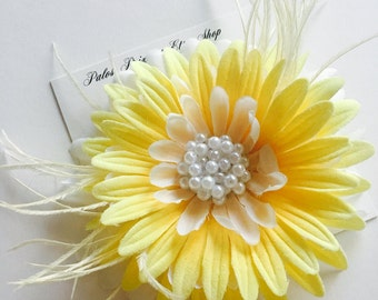 Large Yellow Flower Hair Clip