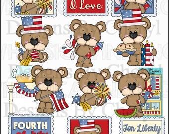 DIGITAL SCRAPBOOKING CLIPART - Big Eye Bear - Fourth Of July