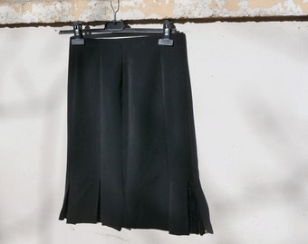 Vintage 60's black skirt with zip closure & slit  OOAK Made in Italy