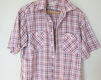 vintage blue & red plaid button up shirt mens *