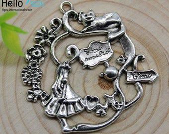 Alice in Wonderland large charm-pendant (set of 4)