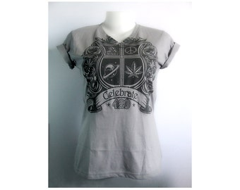 School logos style 420 celebrate Gray V-Neck Tees size S-XL