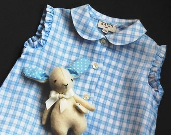 Blue and White Sleeveless Linen Baby Top Size 12 M