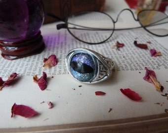Evil eye - magic ring - protection - chunky - adjustable -  silver plated brass statement ring