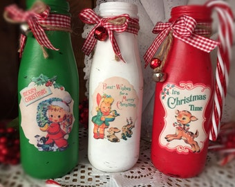 3 Piece Set Christmas Painted Milk Bottle Decoupage Kitschy Retro Vintage Print Green Red White Xmas Decor Ribbon Bells Jute Flower Vase