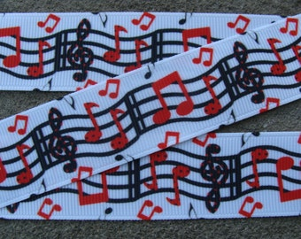 "3 yards Music note Ribbon Music ribbon music notes ribbon 1"" black and red music notes ribbon notes teacher ribbon grosgrain ribbon"