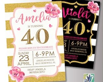 Pink and Gold Birthday Invitation. 40th Birthday Party invitation. Glitter Birthday Invite. Printable Digital DIY Card