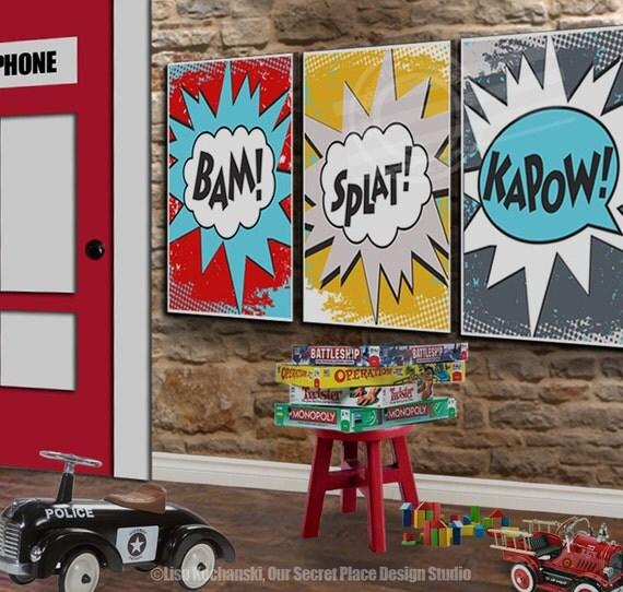 Boys Superhero Room Decor: PRINTABLE Superhero Wall Art Superhero Room Decor For Boys