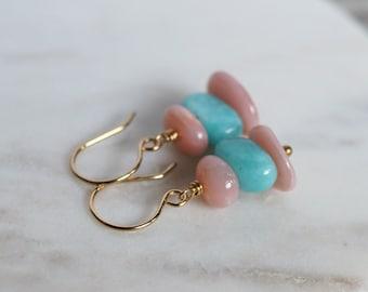 Amazonite earrings, Peruvian opal earrings, amazonite jewelry gift for her, pink Peruvian opal jewelry, 14k gold fill French hook ear wires