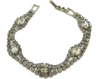 Weiss Double Row Chaton Marquise Rhinestone Vintage Bracelet