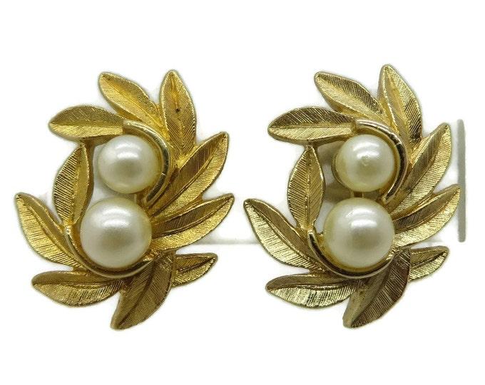 AVON Faux Pearl Gold Tone Clip-on Earrings, Mismatched Vintage Earrings