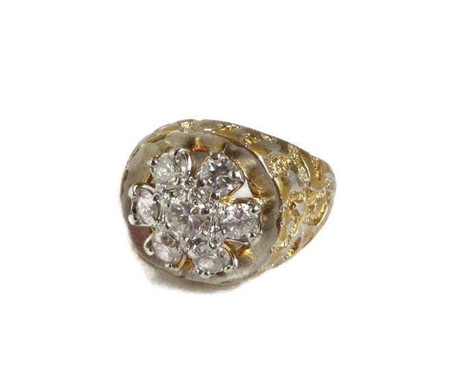 Men's 14K Gold Plated Nugget Ring, Vintage Faceted Glass Stones ring, Size 11