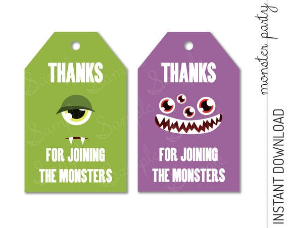 Monster Favor Tag INSTANT DOWNLOAD
