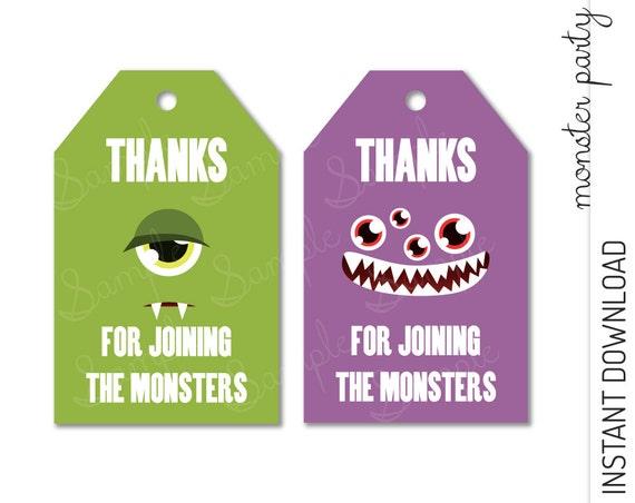 Monster Favor Tag INSTANT DOWNLOAD