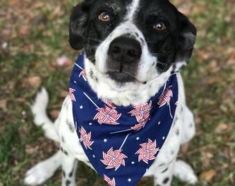 Reversible Dog Pinwheels Bandana • Pet Neck Wear • Red White Blue Scarf for Dog • Fourth of July for Pet • Dog Cat Gift