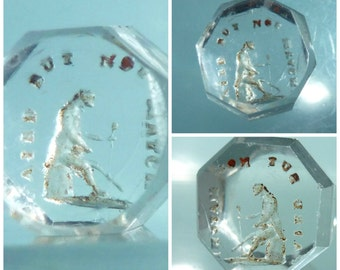 Antique Victorian Intaglio Seal glass block Gent wooden leg paired not not matched - Victorian humour