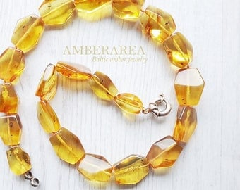 Baltic amber insect necklace. Inclusion amber beads. Natural amber neclace for adults. Dark yellow color, polished amber. 0302
