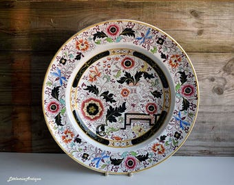 Antique Early Spode Imari Pattern England B 5979 Earthenware  Transferware and Hand Colored Large Soup Bowl/Large Serving Plate
