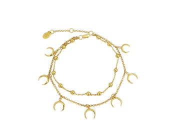 Summer claw chain and charm anklet claw in gold plated sterling silver