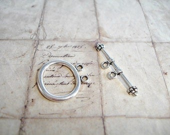 4 Antique Silver Oval Twin Hole 2 Strands Toggle Clasps