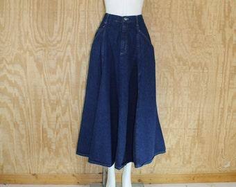 Vintage 1970's MODERN ESSENTIALS Dark Wash Cotton Blue Jean Denim Flared Maxi Skirt M / L