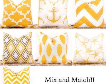 SALE ENDS SOON Yellow Throw Pillow Covers, Yellow Decorative Pillows, Lattice, Nautical, Corn Yellow, Zig Zag, Anchor Pillows