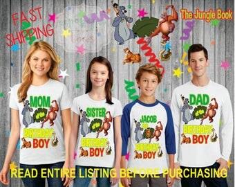 The Jungle Book theme birthday BOY theme Shirts for the entire family Girl Dad Mom  Age Name Custom Raglan T-shirt monkey snake