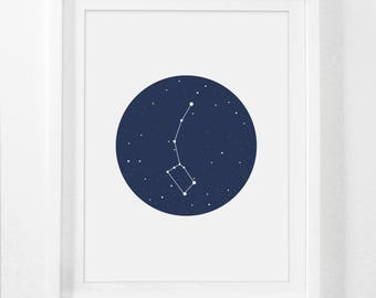 Little Dipper, Ursa Minor, Constellation Art Prints, Night Sky, Constellation Print, Astronomy Decor, Galaxy Art, Outer Space, Printables