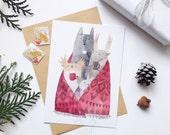 cute animal post card cozy winter post card animal greeting card illustrated post card coffee post card tea card wolf post card
