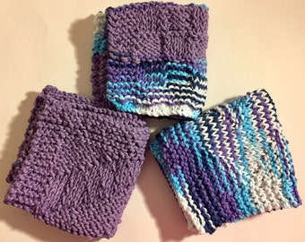 Set of 3 Large Knitted Dish Cloths - Shades of Purple & Blue